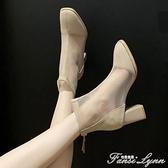 鏤空馬丁靴子涼靴女2021新款夏季薄款網紗女鞋高跟粗跟切爾西短靴 范思蓮恩