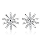 銀耳釘女韓國的鍍銀飾品 花朵同款耳釘鑲鋯石《小師妹》ps453
