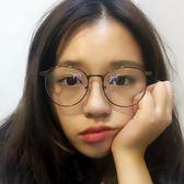 韓系複古文藝小清新女原宿網紅超輕潮流可愛細框圓形鏡架平光眼鏡