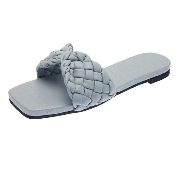 草編鞋女 編織拖鞋女外穿2021夏季新款時尚方頭平底一字拖網紅時尚羅馬潮鞋【新品】