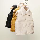 兒童馬甲 兒童羽絨棉馬甲女童寶寶羊羔坎肩加厚嬰兒外穿馬夾保曖背心秋冬 快速發貨
