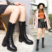英倫粗跟中筒靴女靴加絨高跟系帶雪地靴短靴子女鞋