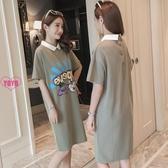 YoYo 純棉連身裙 中長款POLO領短袖T恤連身裙 3色(S-5L)E1167