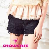 【SHOWCASE】俏麗蕾絲拼接寬口短褲(黑)