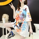 韓版寬鬆連帽中長款短袖T恤女夏季2021新款慵懶風網紅ins超火上衣 【端午節特惠】
