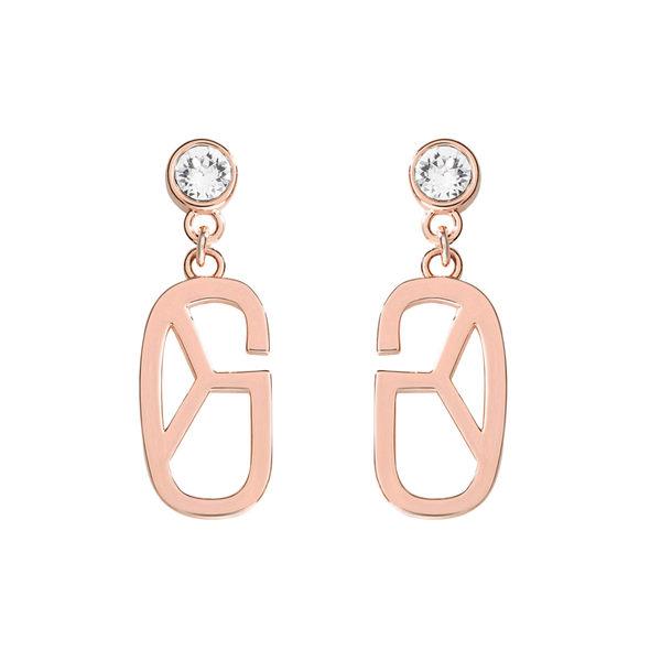 耳環 Earring Monogram Diamond 玫瑰金 銅鍍 施華洛世奇水鑽