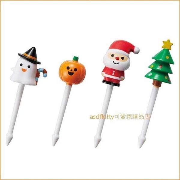 日本TORUNE南瓜.鬼精靈.聖誕老公公.聖誕樹食物叉/三明治叉/宴會點心叉/便當裝飾叉-日本