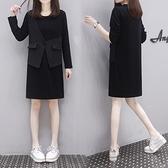 長袖洋裝 衛衣連身裙中長款衛身裙秋季馬甲假兩件大碼連身裙G665-B 胖妹大碼女裝