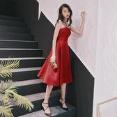 聖誕感恩季 緞面敬酒服新娘2018新款結婚訂婚紅色小禮服回門連身裙抹胸中長款