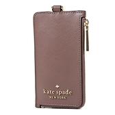 美國正品 KATE SPADE 立體LOGO防刮皮革識別證掛帶票卡夾-可可色【現貨】