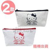〔小禮堂〕Hello Kitty 帆布船形拉鍊筆袋《2款隨機.紅/黑》鉛筆盒.化妝包.銅板小物 4589932-60600