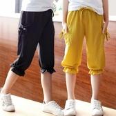 女童褲子2019新款夏裝兒童七分褲女大童夏季薄款寬鬆版小女孩中褲【快速出貨】
