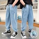 男童牛仔褲夏季中大兒童裝褲子薄2021年新款帥氣長褲男孩防蚊褲潮 一米陽光