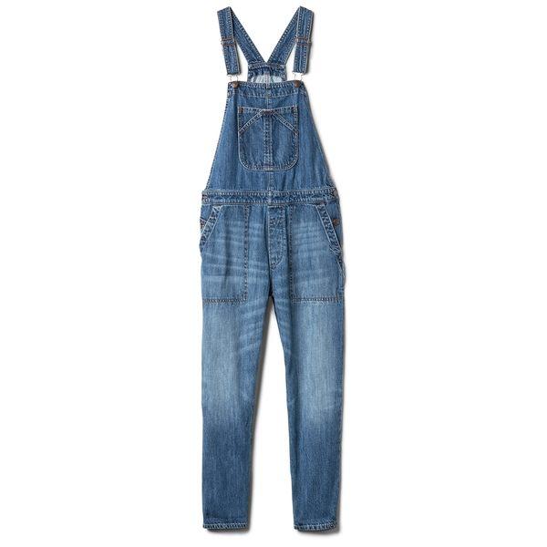 Gap女裝 寬鬆水洗牛仔背帶褲 256628-中度靛藍