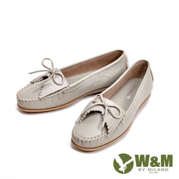 【南紡購物中心】W&M 可水洗舒適柔軟蝴蝶結流蘇平底 女鞋-灰(另有白、藍)
