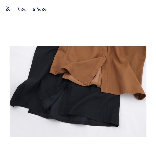 a la sha  排釦打摺開衩長裙