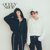 Queen Shop【01096319】連帽短版設計休閒上衣 兩色售*現+預*