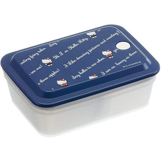 小禮堂 Hello Kitty 日製 方形微波保鮮盒 抗菌保鮮盒 便當盒 600ml Ag+ (藍 文字) 4973307-51499