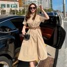 韓國製.率性俐落拼接收腰雙口袋襯衫式連身裙.白鳥麗子