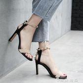 羅馬涼鞋女中跟高跟鞋新款百搭粗跟一字扣帶女鞋 薔薇時尚