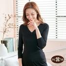 【岱妮蠶絲】純蠶絲42針70G小蕾絲V領長袖衛生衣-RWC6A1016A(素黑)