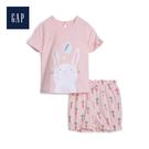 Gap 嬰兒 棉質甜美短袖家居服套裝 543596-淺粉色