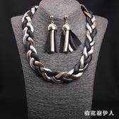 時尚氣質金屬編織短鎖骨項鍊 耳環套裝夸張韓版潮流女配飾 DN20822【棉花糖伊人】