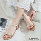 PAPORA珍珠後扣式氣質涼鞋KK247米