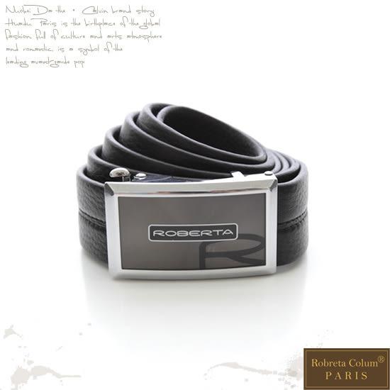 Roberta Colum - 品味-自動金屬滑扣黑牛皮皮帶