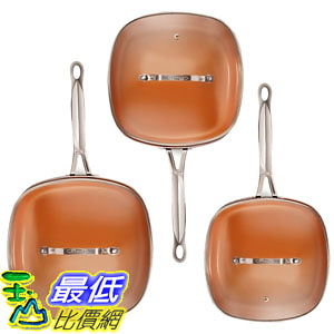 [8美國直購] 不沾鍋 廚具套裝 Gotham Steel 2138 Nonstick Copper Square Shallow Pan with Lids 6 Piece Cookware Set