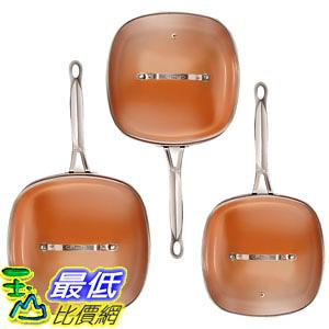 [8美國直購] 陶瓷不沾鍋 廚具套裝 Gotham Steel 2138 Nonstick Copper Square Shallow Pan with Lids 6 Piece Cookware Set
