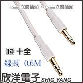 十全 3.5mm公-公立體信號連接線 高品質鍍金系列 (AP151/0.6M) 0.6米/0.6公尺/0.6M