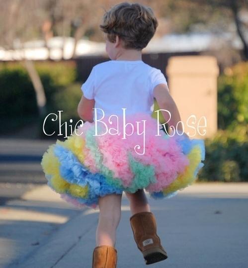 【美國Chic Baby Rose】手工雙層雪紡澎裙 - 彩虹 美國手工製造
