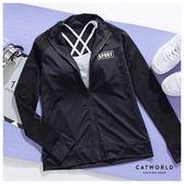 Catworld 網眼透膚袖立領運動外套【15003711】‧S-XL
