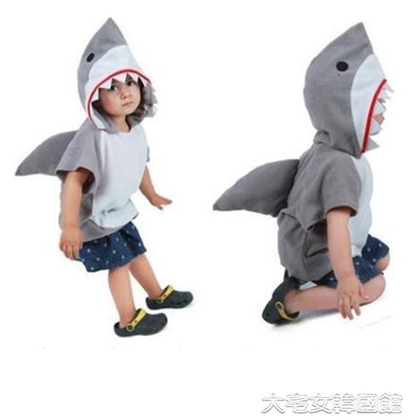兒童動物衣服卡通人偶鯊魚cos服鯊魚服裝演出服海底世界角色扮演大宅女韓國館