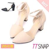 尖頭鞋-TTSNAP MIT法式絕美繫踝瑪莉珍中跟鞋 黑/米