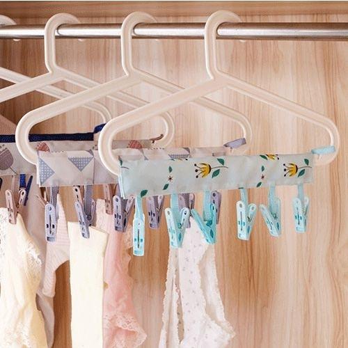 創意便攜布藝衣架 出差旅行可折疊衣架 浴室晾衣服夾子 魔術曬衣架