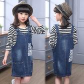 兒童女童中大童時尚鉚釘背心裙牛仔吊帶裙。藍色
