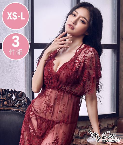 佛朗明哥女郎 性感網紗造型斜裙睡衣三件組 (棗色/XS到L適穿) MyDoll