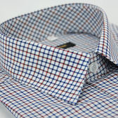 【金‧安德森】白底紅黑藍相間方格窄版長袖襯衫