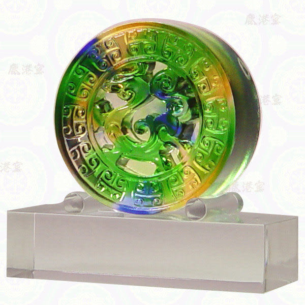 鹿港窯~居家開運水晶琉璃【龍騰四海-含壓克力座】獎牌 擺飾 ◆附精美包裝◆免運費送到家