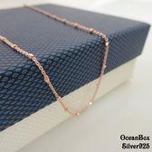 ☆§海洋盒子§☆16吋.18吋。甜美浪漫。立體方格珠球義大利製玫瑰金純銀項鍊  《925純銀》