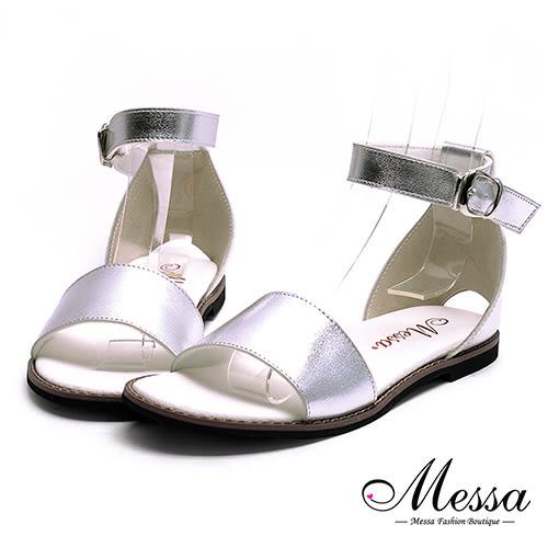 涼鞋-Messa米莎 MIT後挖洞一字繫踝內真皮平底涼鞋-銀色