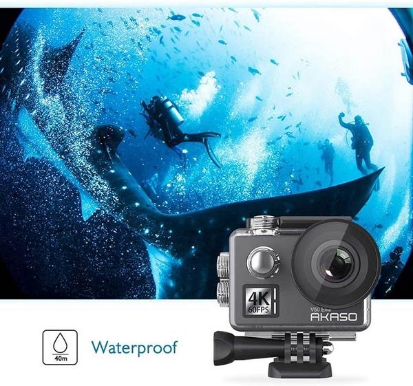 AKASO【美國代購】WiFi 運動攝影機4K60fps 觸控螢幕131 英尺防水 8X變焦V50 Elite