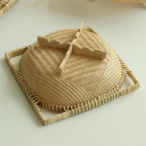 竹果盤竹制品圓簸箕方形帶腳果籃竹籃手工編織家居客