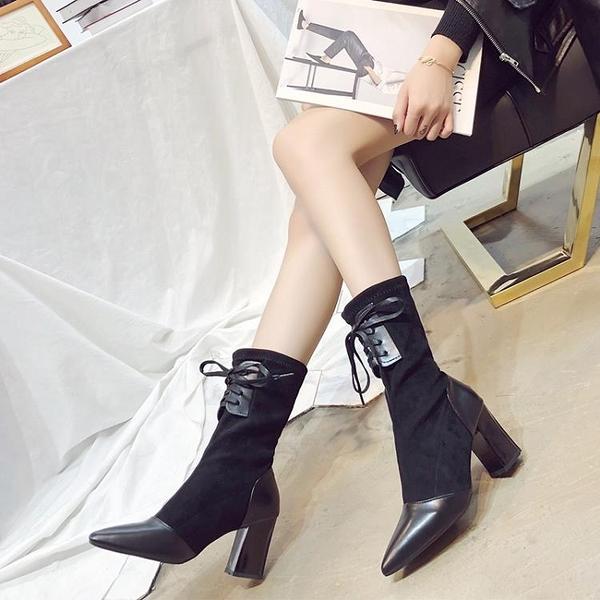 夏天新款韓版中筒彈力靴尖頭拼接襪靴粗跟高跟女靴顯瘦短靴女 伊衫風尚