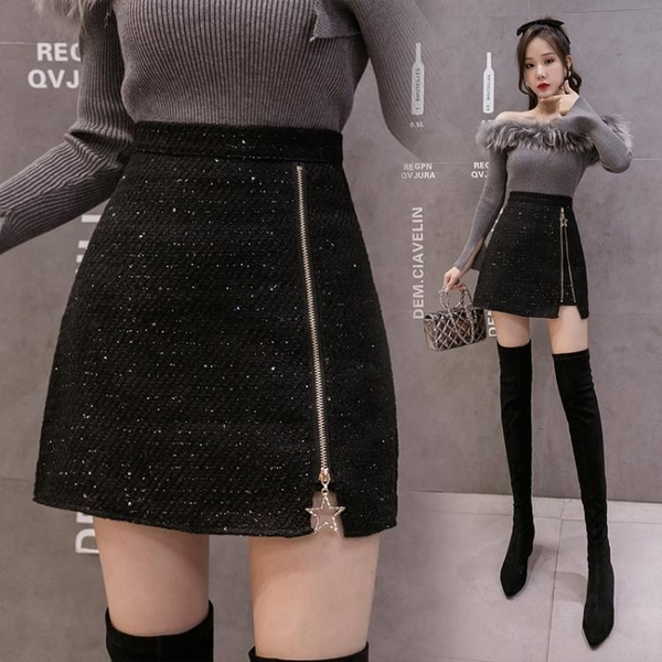 2020秋冬新款高腰短裙顯瘦A字裙小個子防走光拉鏈包臀裙半身裙女 黛尼時尚精品