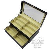 首飾盒 雙層皮革眼鏡墨鏡收納盒 新品太陽鏡展示收藏飾品首飾盒【1件免運】xw