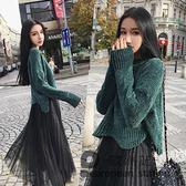 套裝/小香風秋冬季名媛時尚裙毛衣搭配網紗裙兩件套女