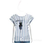 TRUSSARDI 藍白條紋創意LOGO貼飾短袖T恤 1720302-77